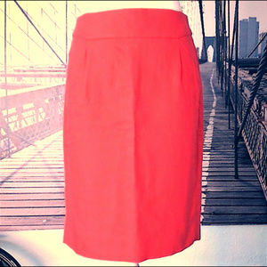 J. CREW pencil skirt in coral, POCKETS! Sz 4, EUC